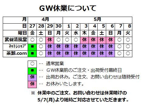 2018年GWの営業