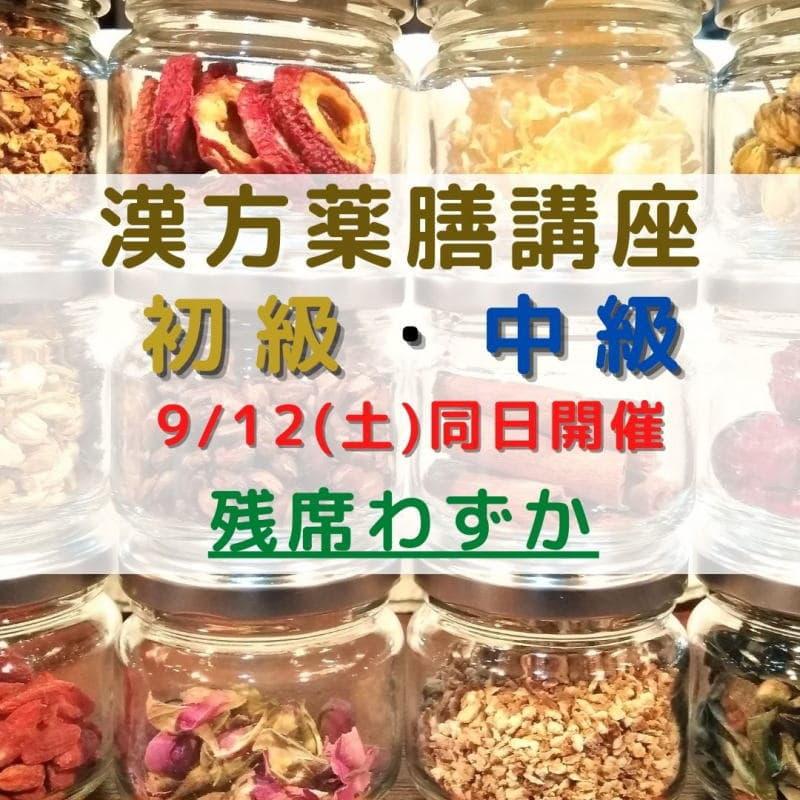 9/12(土) 漢方薬膳講座 初級・中級 同日開催