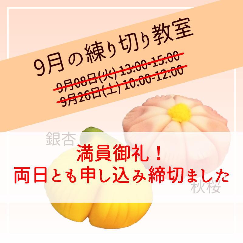 【満員御礼】2020年9月の練り切り教室~秋桜・銀杏